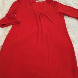 Aryeh soft red dress with bell sleeves SZ MED